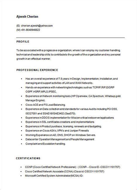 resume format for network engineer emphasize your skills in your network engineer resume