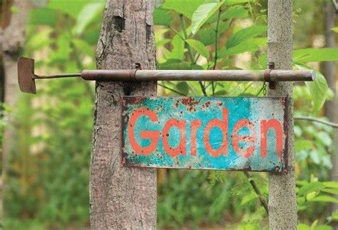 Garden Signs And Decor Large Metal Garden Sign With Hoe Farmhouse Outdoor Wall Philadelphia By Antique
