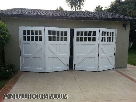 Residential Bi Fold Garage Doors Carriage Garage Door In A Bi Fold Configuration East Side Costa Mesa Home Office Farmhouse