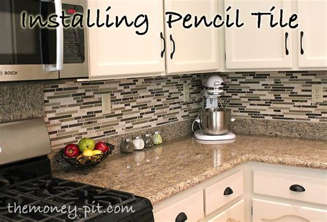 How To Install A Backsplash In A Kitchen Installing A Pencil Tile Backsplash And Cost Breakdown The Six Fix