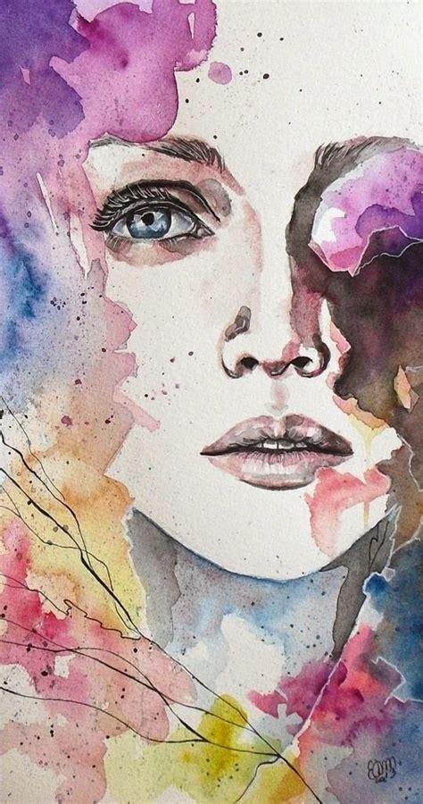 imagenes de paisajes que forman caras acuarelas y rostros femeninos quiero m 225 s dise 241 o