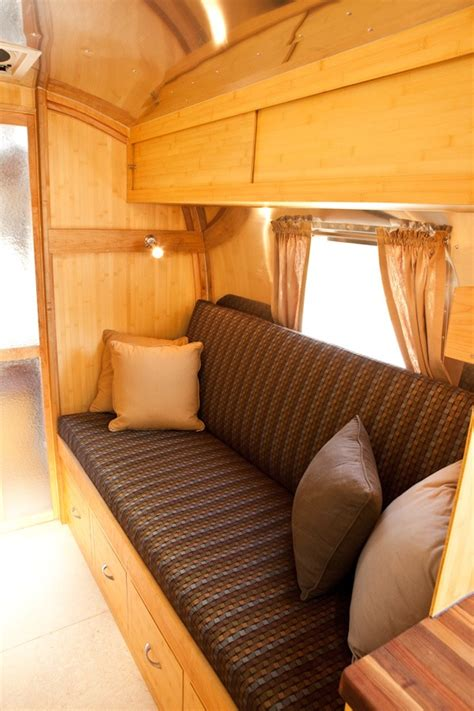 airstream couch converted coleman cots airstream bunks pinterest