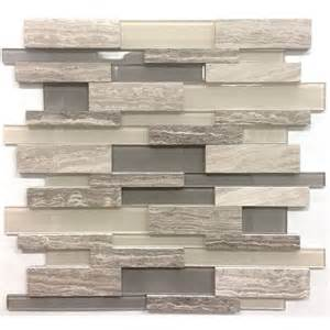 Wall Tile Kitchen Backsplash by Avenzo 12 In X 12 In 3d Wooden Light Grey Stone And Glass