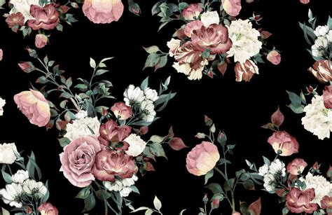 Large Wall Murals Uk vintage pink and cream dark floral wall mural murals