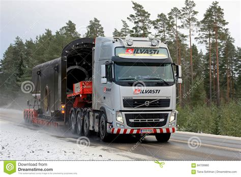 volvo transport volvo fh semi trailer leaves truck stop editorial image