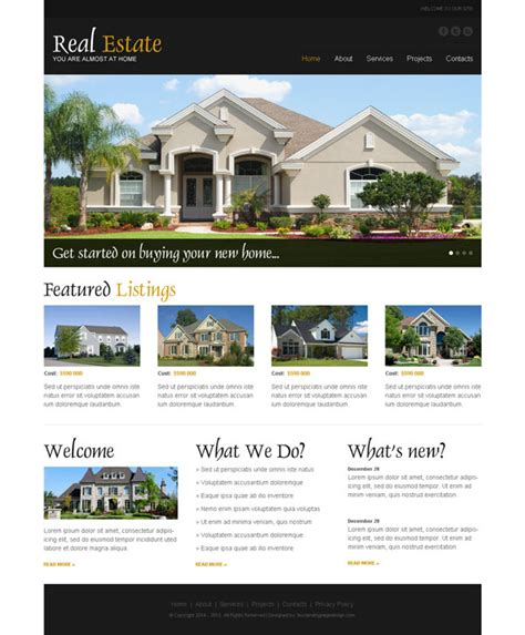 templates for real estate website real estate business website template psd