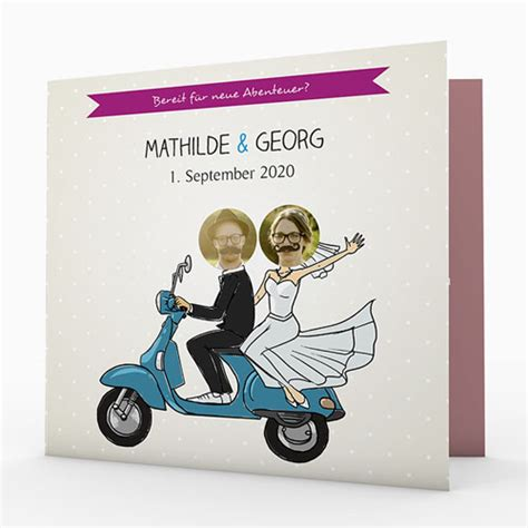 Hochzeitseinladung Motorrad by Hochzeitseinladungen Modern Roller Carteland De