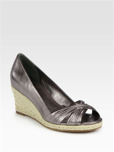 cole haan sandals cole haan air camila espadrille metallic leather wedge
