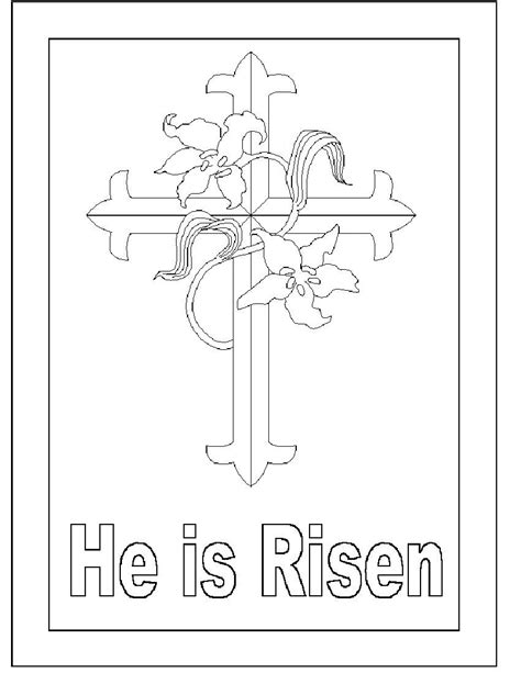religious card template for to color he is risen coloring page easter pictures to color pages
