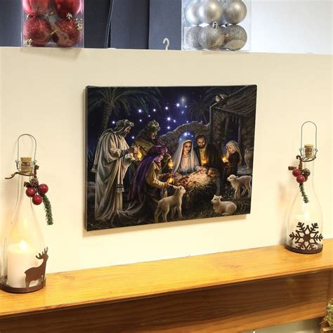 nativity scene canvas with light up led bulbs christmas