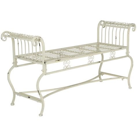 outdoor iron bench safavieh brielle outdoor iron patio bench in antique white pat5004a the home depot