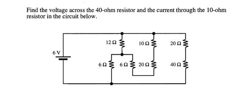 current through 10 ohm resistor find the voltage across the 40 ohm resistor and th chegg