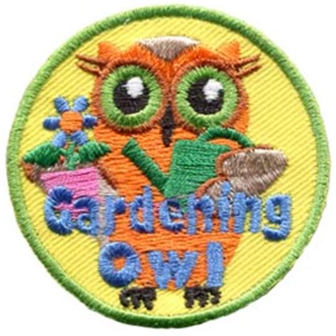 Gardening Merit Badge Gardening Owl Iron On Embroidered Patch By E Patches