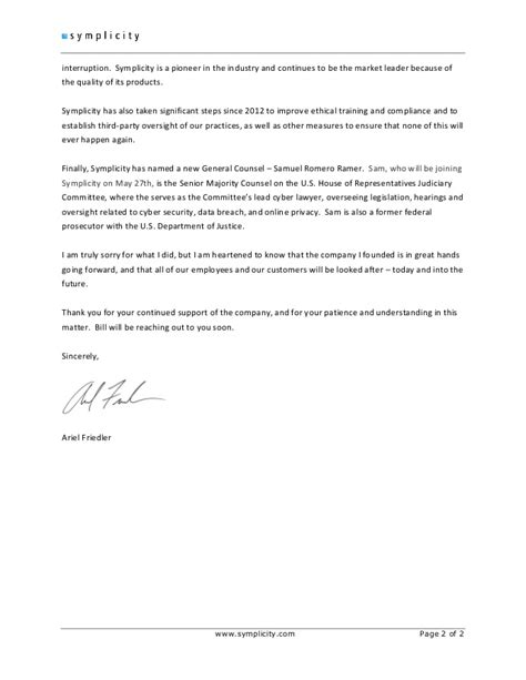 letter of resignation to clients simplicity ceo ariel friedler resignation letter