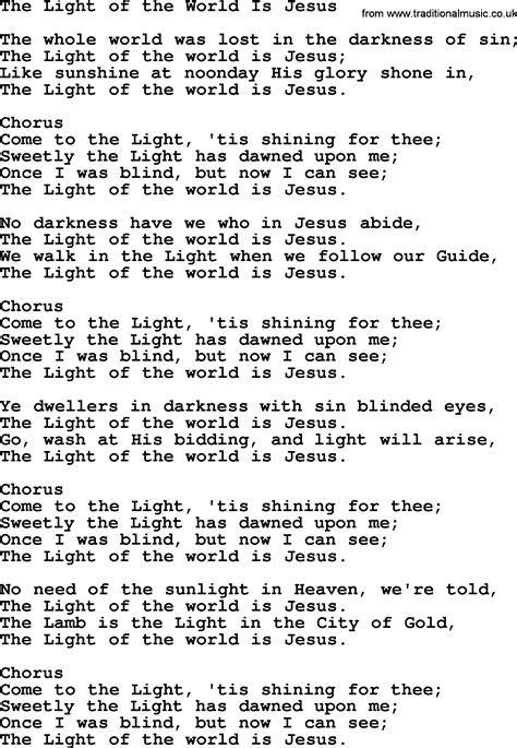 Jesus Is The Light Song by Jesus Is The Light Of The World Lyrics 28 Images