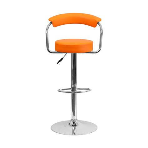 Contemporary Swivel Adjustable Bar Stool With Arm Rests by Contemporary Orange Vinyl Adjustable Height Bar Stool With