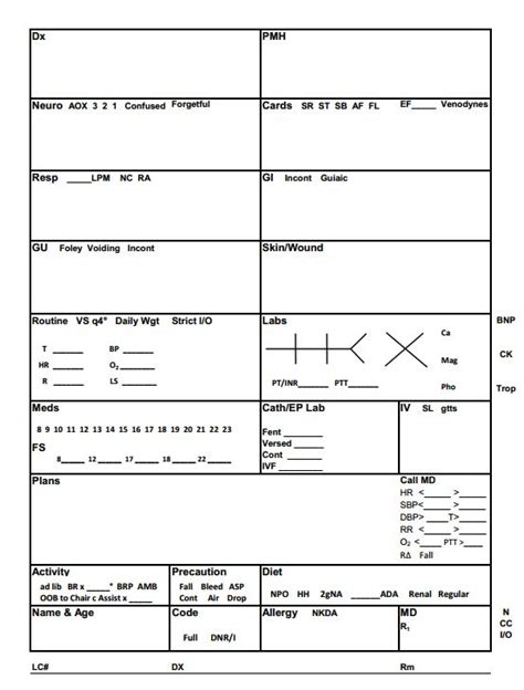 nursing report sheet template 28 best images about nursing brain sheets on