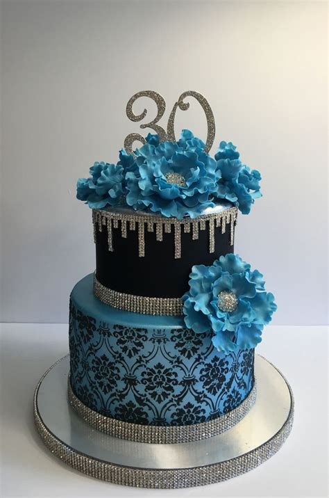 black pattern cake blue and bling 30th birthday cake cakecentral com
