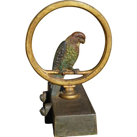 Bradley Hubbard L by Bradley Hubbard Parrot In A Ring Cast Iron Doorstop From