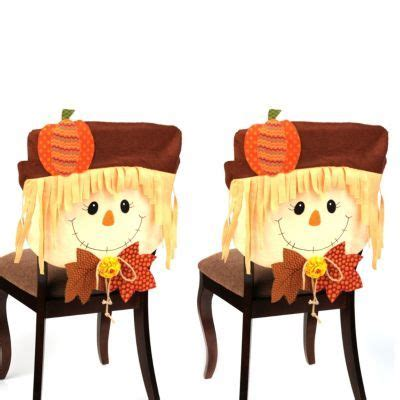 fall chair covers smiling scarecrow boy chair covers set of 2 chairs