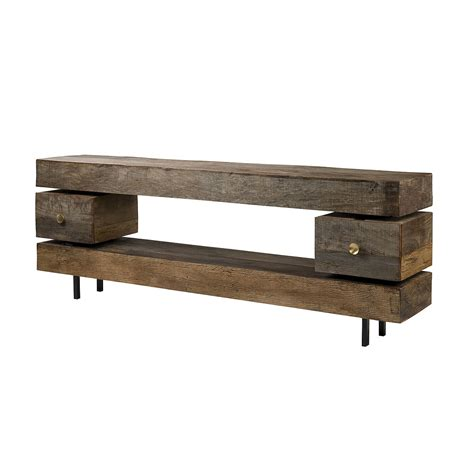 Wooden Console Table Reclaimed Wood Rustic Bina Dillon Console Table With Drawers Zin Home