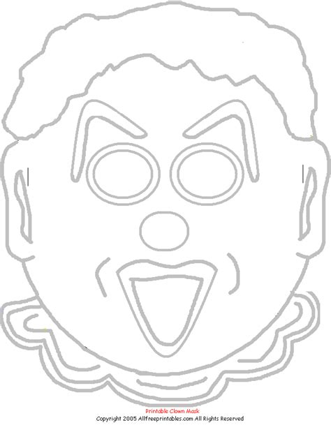 clown mask template coloring printable masks coloring pages