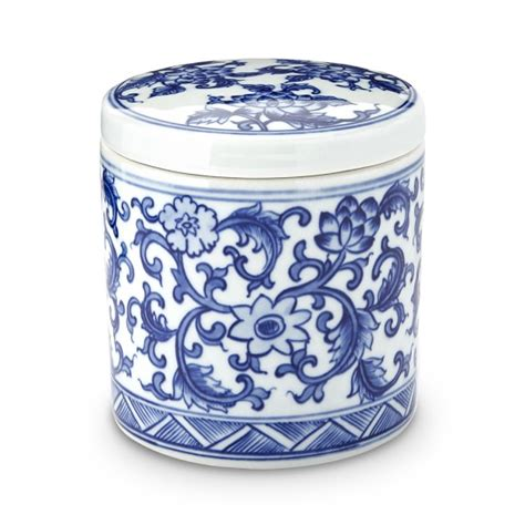 kitchen canisters blue blue white ceramic canister small williams sonoma
