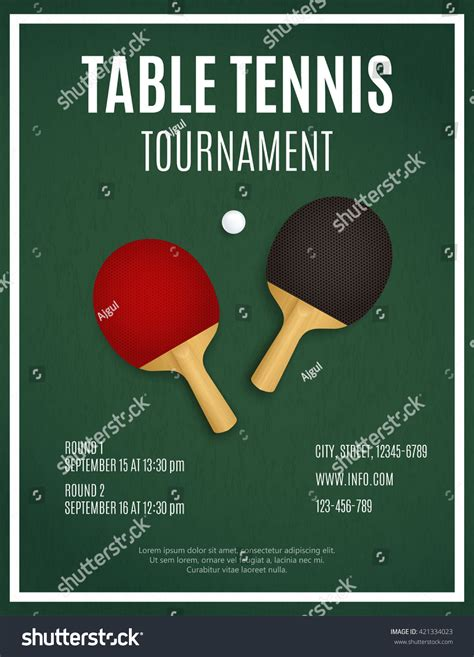 Ping Pong Tournament Table Tennis Background Stock Vector 421334023 Shutterstock Free Pong Flyer Template