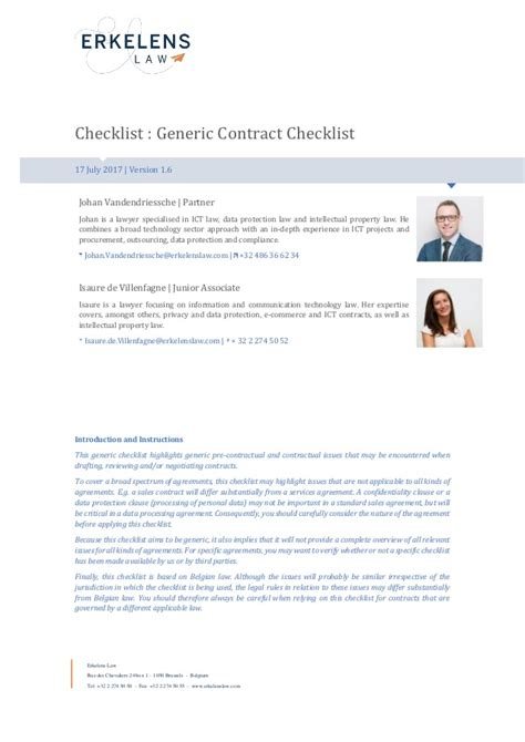 contract checklist belgian law english version