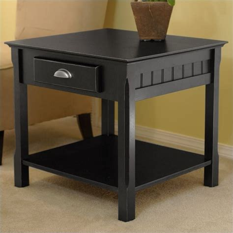 Solid Wood End Tables by Winsome Timber Solid Wood Nightstand Black End Table
