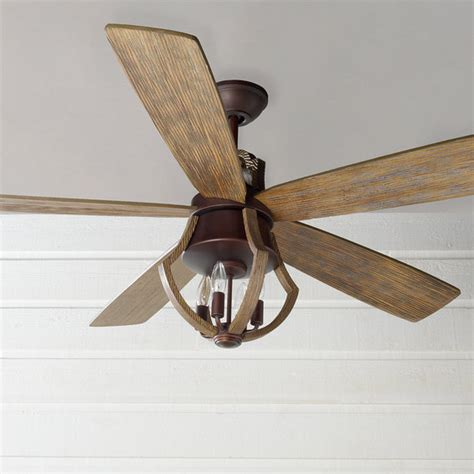 rustic wine barrel stave ceiling fan shades  light