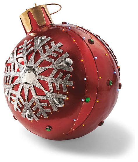 fiber optic led red whiteflake ornament traditional