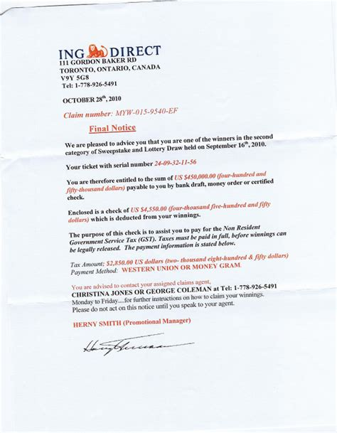 Report Spam Letter Ripoff Report Ing Diect Complaint Review Toronto Ontario