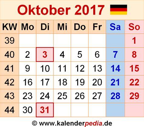 Calendar October 2017 Kalender Oktober 2017 Als Pdf Vorlagen