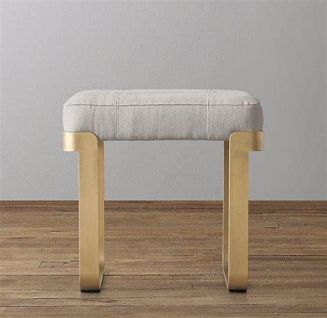 schemel gepolstert vance antiqued brass leather stool