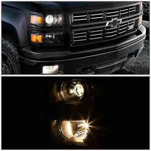 2014 2016 chevy silverado 1500 projector headlights black