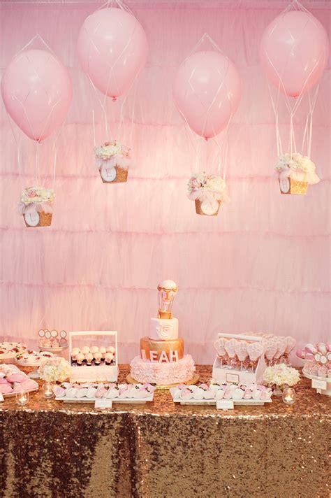 balloon themed birthday party a glittering pink and gold hot air balloon themed birthday