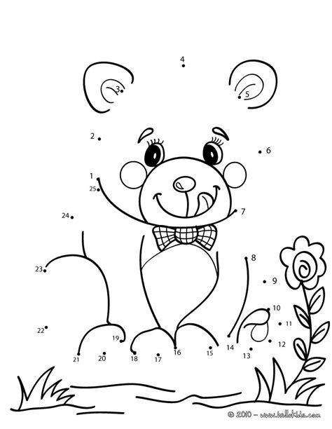 free printable dot to dot bear teddy bear dot to dot game coloring pages hellokids com