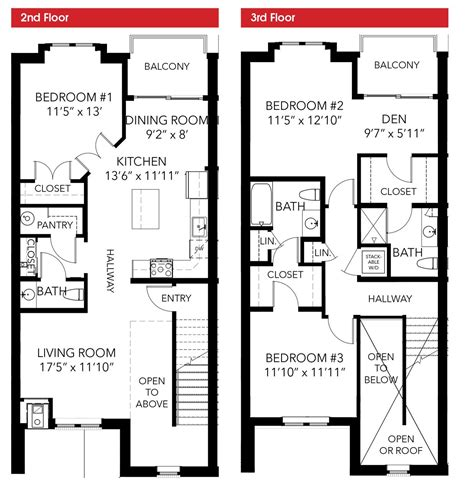 modern townhouse floor plans oakbourne floor plan 3 bedroom 2 story leed certified