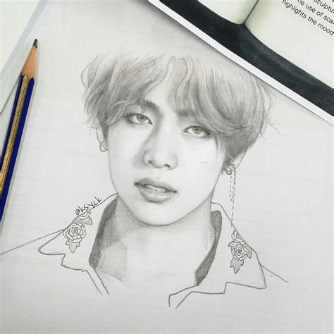 Kpop Drawing by V Bts Fanart Bts Fanarts In 2018 Bts