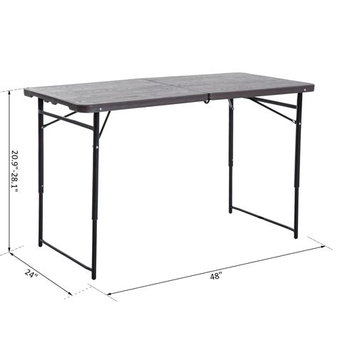 4ft folding table adjustable height outsunny 4ft outdoor folding cing table height
