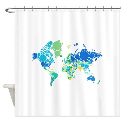 world map shower curtain canada abstract world map with dots shower curtain by illustree