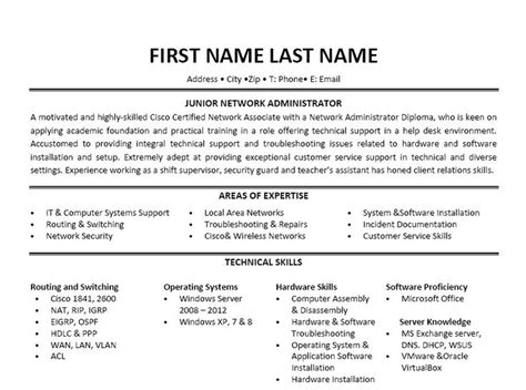 Network Administrator Resume Template by 17 Best Images About Best Network Engineer Resume Templates Sles On A