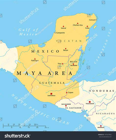 mayan ruins map high culture area map stock vector 197547962