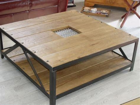table de salon contemporaine design table basse en bois et metal industrielle style industriel micheli design