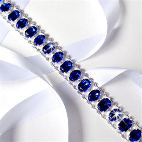 46 Tefity Set 3in1 Royalblue statement royal blue rhinestone wedding dress sash by