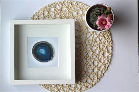 geode home decor framed agate slice geode home decor black or white