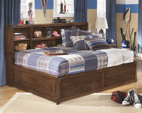 bed with bookcase delburne full bookcase bed with storage b362 51 85 88 beds furniture world