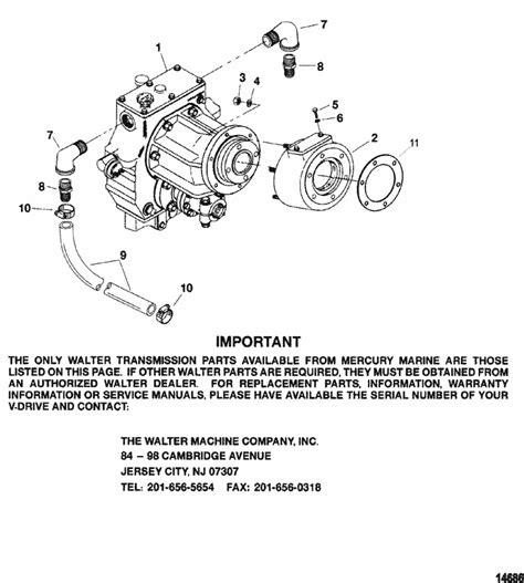 mercruiser  mpi ski transmission walter  drive parts