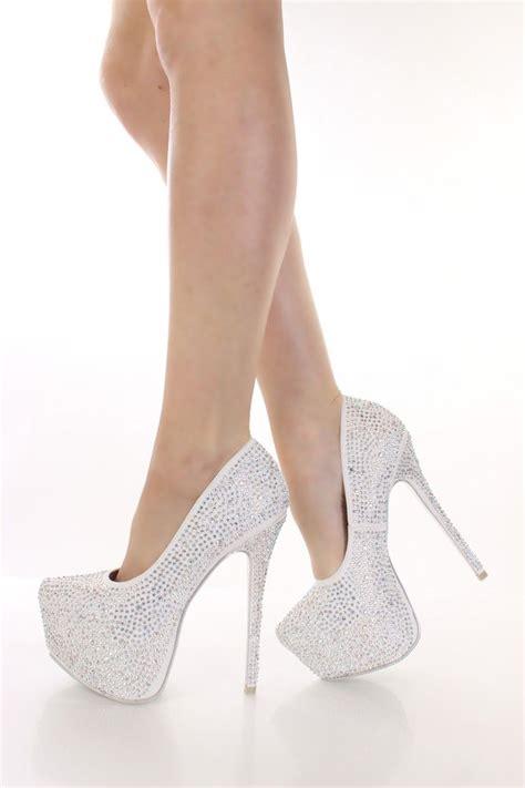 graduation white rhinestone platform heels hello closet